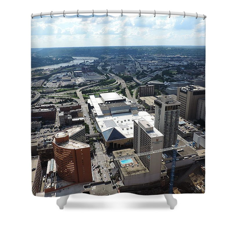 City Shower Curtain featuring the photograph Downtown Cincinnati Form The Top Of Karew Tower by Cityscape Photography