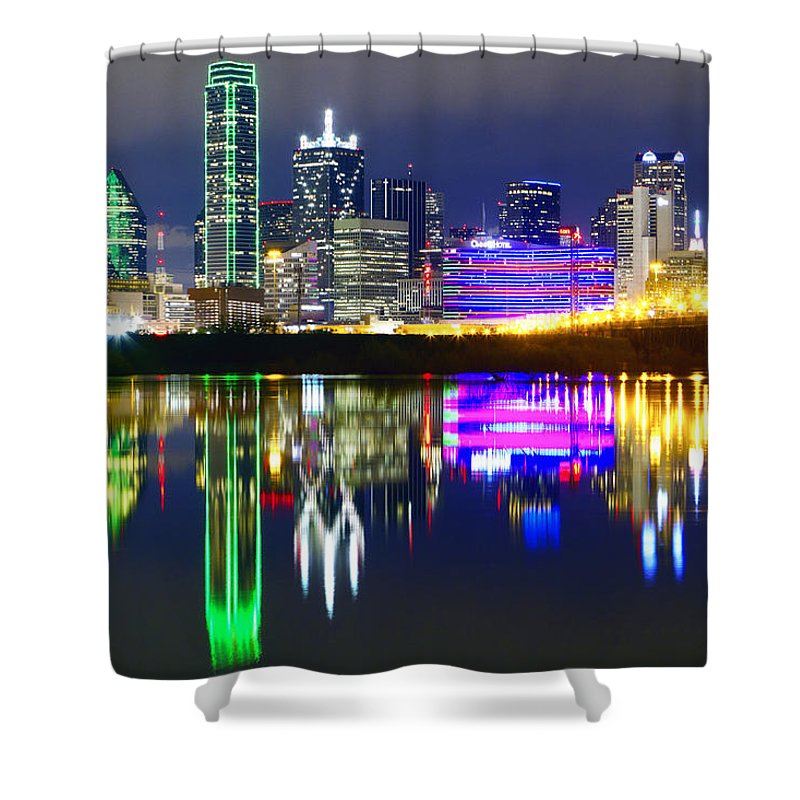 Scenics Shower Curtain featuring the photograph Downtown Dallas Skyline Reflections by Matthew Visinsky
