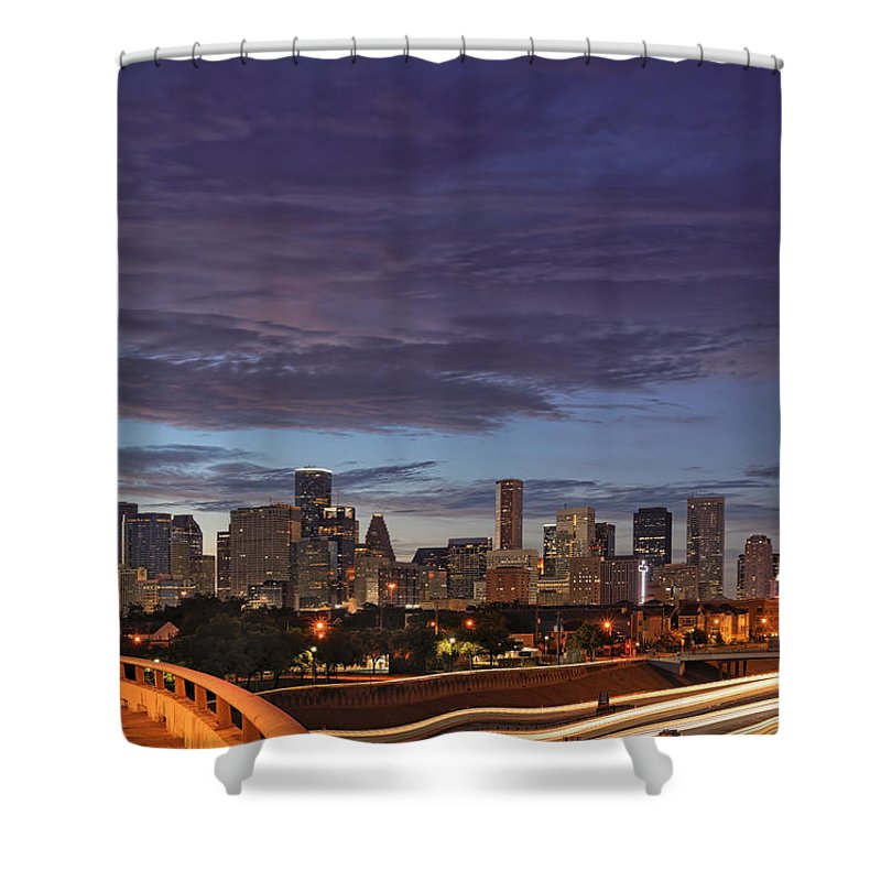 Houston Skyline Shower Curtain featuring the photograph Downtown Houston After The Storm by Silvio Ligutti