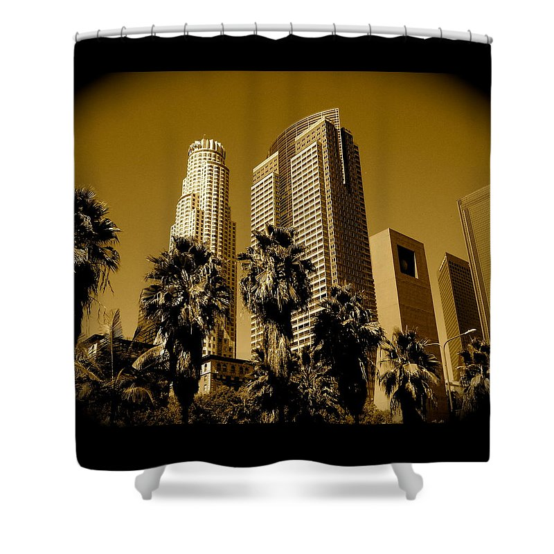 Los Angeles Prints Shower Curtain featuring the photograph Downtown Los Angeles by Monique's Fine Art