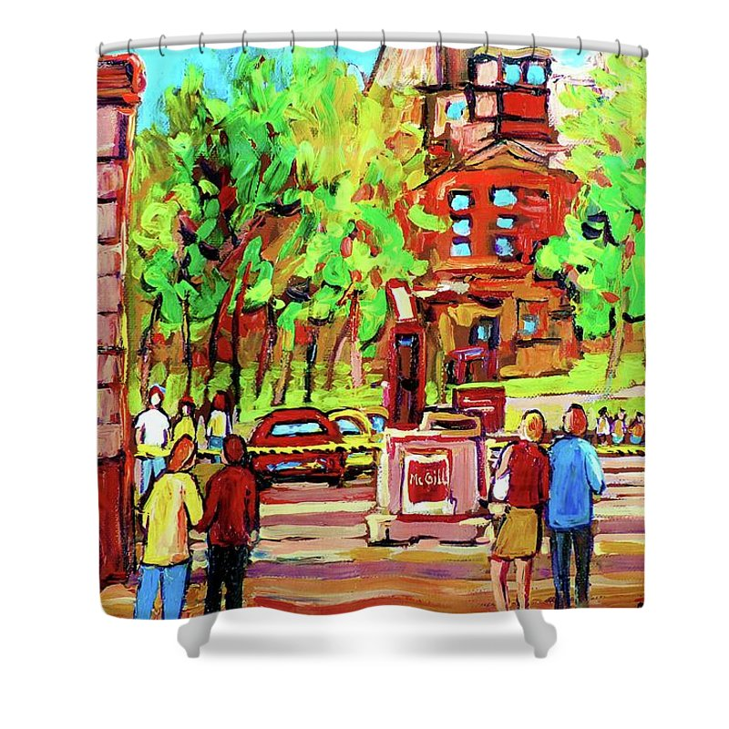 Montreal Shower Curtain featuring the painting Downtown Montreal Mcgill University Streetscenes by Carole Spandau