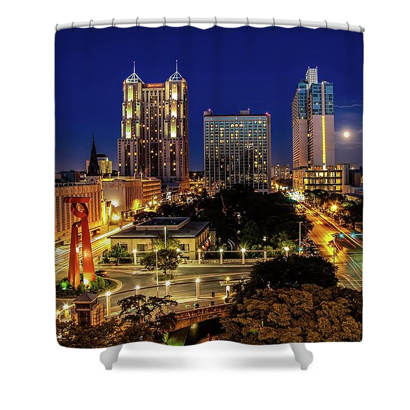Downtown District Shower Curtain featuring the photograph Downtown San Antonio by John Cabuena Flipintex Fotod