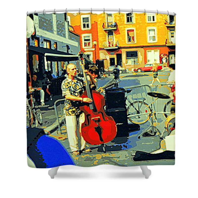 Musicians Shower Curtain featuring the painting Downtown Street Musicians Perform At The Coffee Shop With Cool Tones On A Hot Summer Day by Carole Spandau