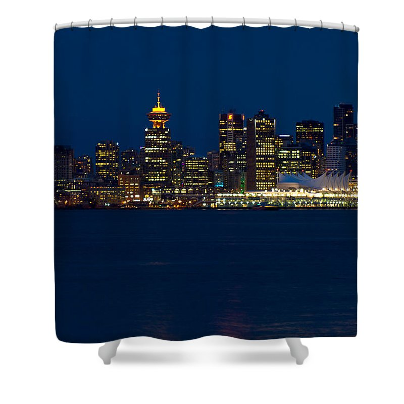 Vancouver Shower Curtain featuring the photograph Downtown Vancouver At Night by Eti Reid