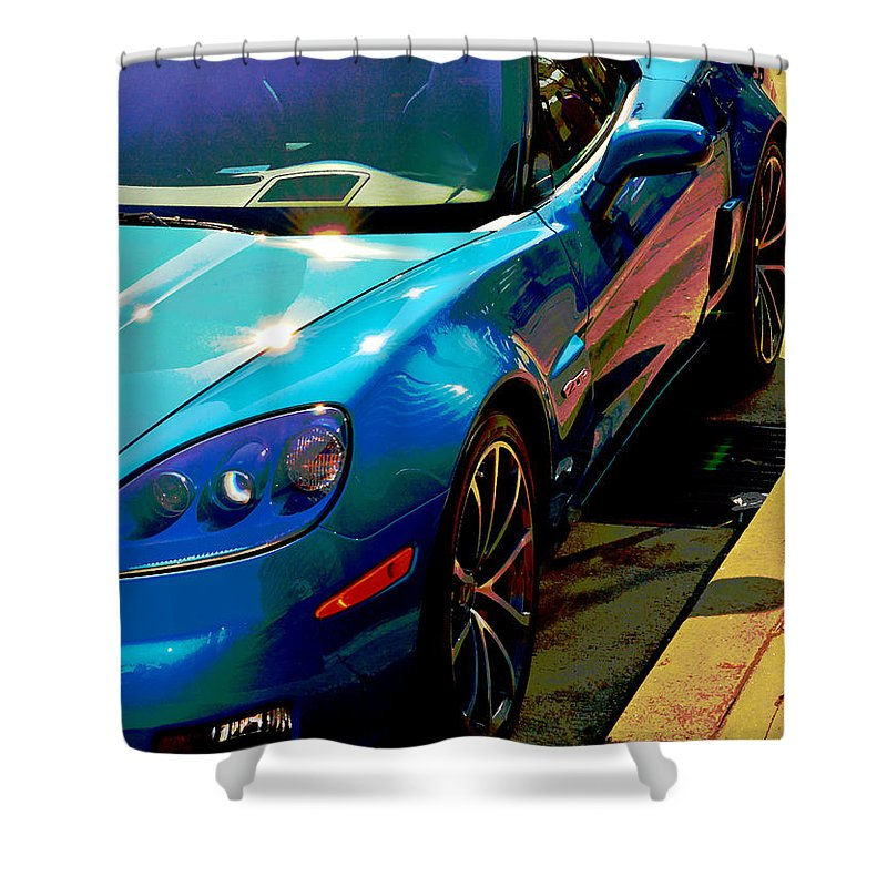 Car Shower Curtain featuring the photograph Downtown Vette - Modern Muscle by William Bartholomew