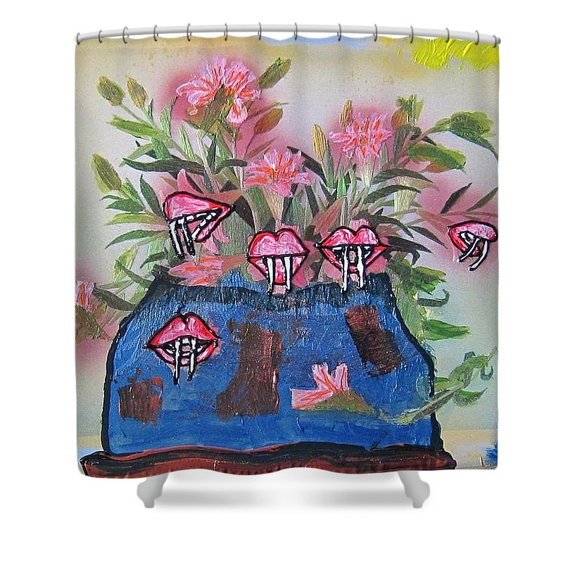 Flowers Shower Curtain featuring the painting Dracula Vampira Orchid by Lisa Piper