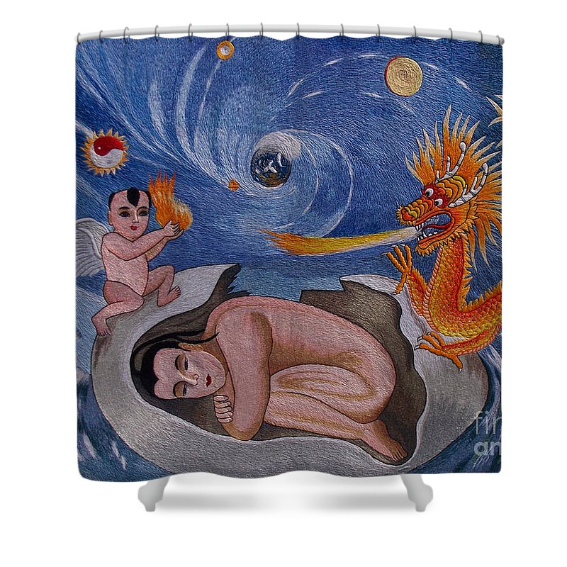 Dragon Shower Curtain featuring the tapestry - textile Dragon Hand Embroidery by To-Tam Gerwe