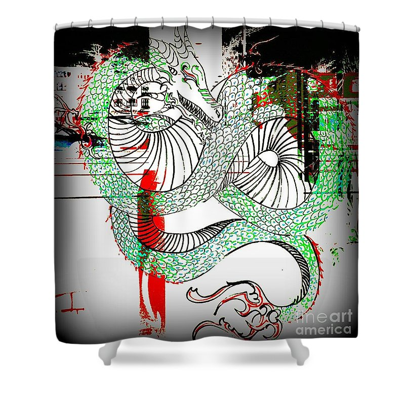Shower Curtain featuring the photograph Dragon Inverted by Kelly Awad