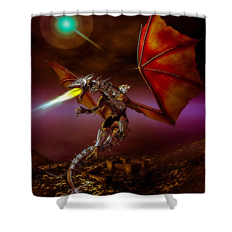 Dragons Shower Curtain featuring the digital art Dragon Rider by Bob Orsillo