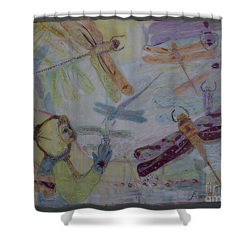Dragonfly Paintings Shower Curtain featuring the painting Dragonflies In Winter by Avonelle Kelsey