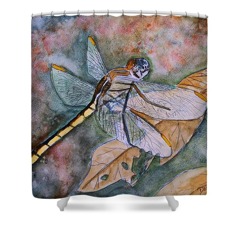 Dragonfly Shower Curtain featuring the painting Dragonfly by Derek Mccrea
