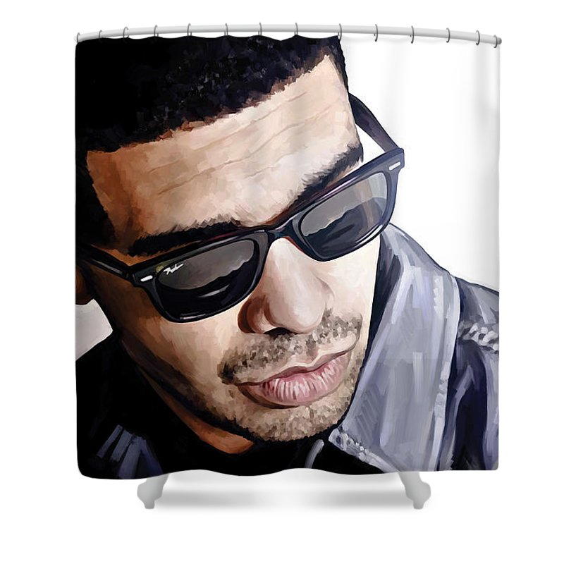 Drake Paintings Shower Curtain Featuring The Painting Artwork 1 By Sheraz A