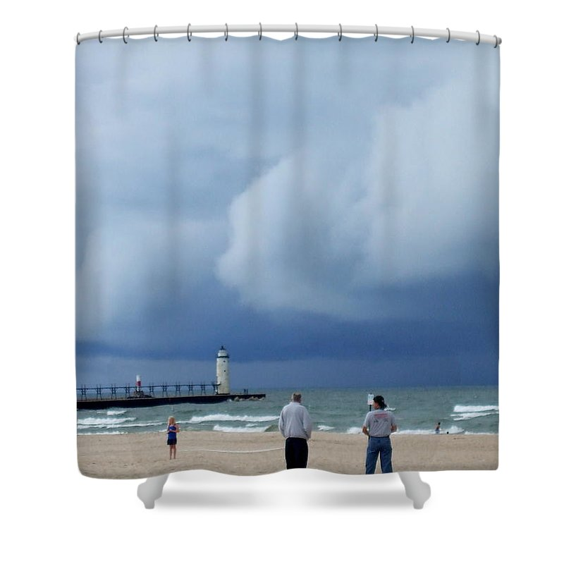 Dramatic Shower Curtain featuring the photograph Dramatic Storm Clouds Over Lake Michigan by Susan Wyman