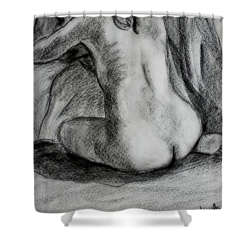 Nude Shower Curtain featuring the drawing Drapery Pull by Kendall Kessler