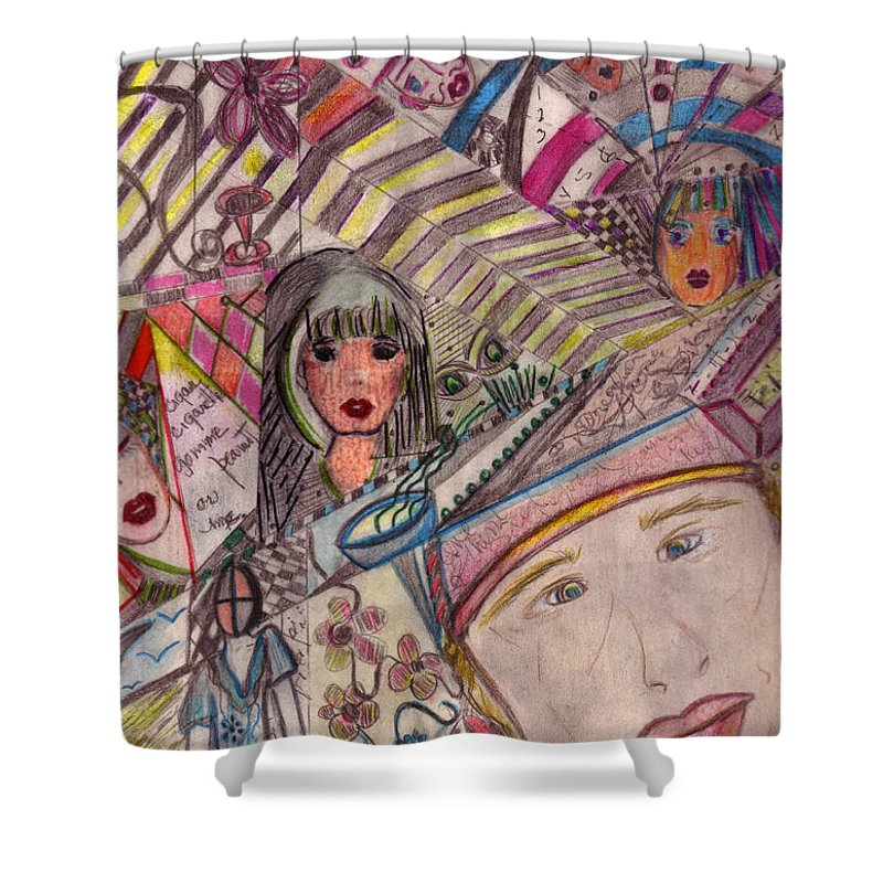 Drawings Shower Curtain featuring the drawing Drawings by Pikotine Art