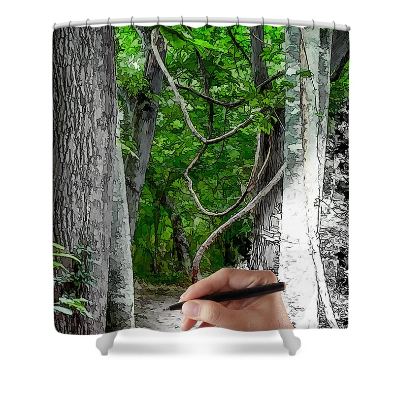 Drawing Shower Curtain featuring the painting Drawn To The Woods With Imagination by John Haldane