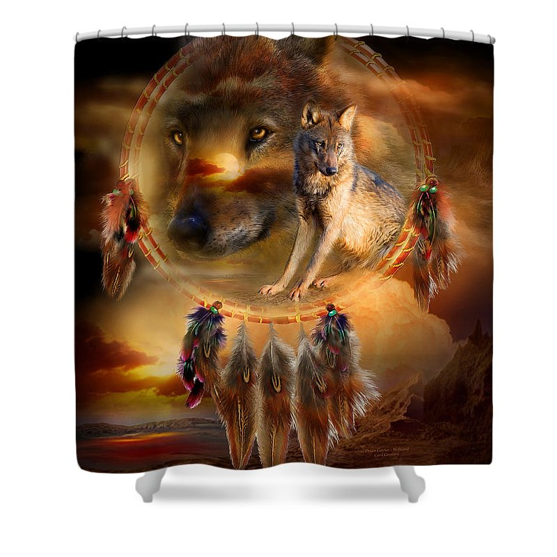 Carol Cavalaris Shower Curtain featuring the mixed media Dream Catcher - Wolfland by Carol Cavalaris