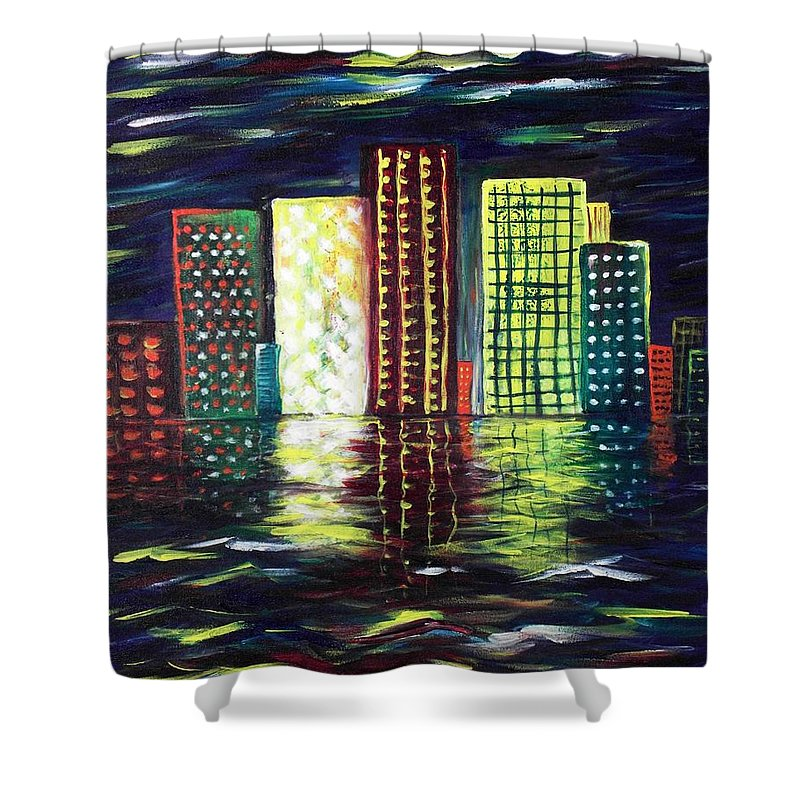 Skyline Shower Curtain featuring the painting Dream City by Anastasiya Malakhova