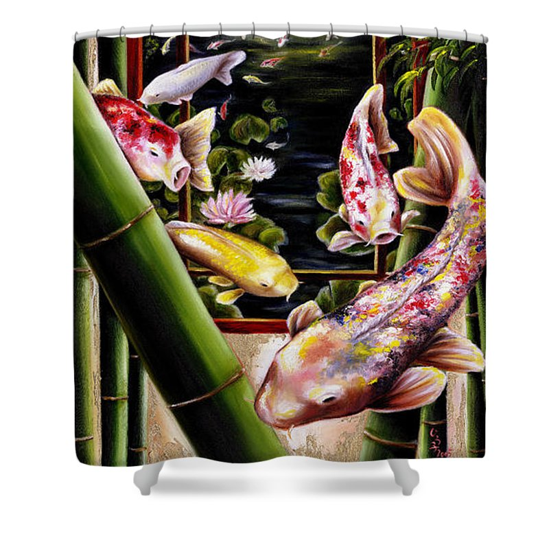Japanese Shower Curtain featuring the painting Dream by Hiroko Sakai