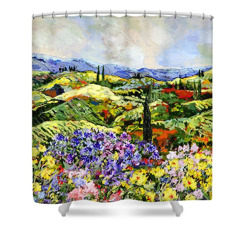 Landscape Shower Curtain featuring the painting Dream Valley by Allan P Friedlander