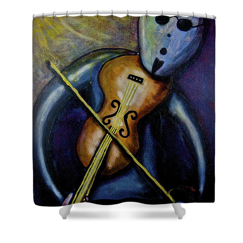 Violin Shower Curtain featuring the painting Dreamers 99-002 by Mario MJ Perron