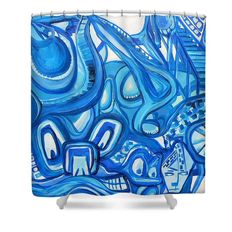 Surreal Shower Curtain featuring the painting Dreaming In Blue by Larry Calabrese