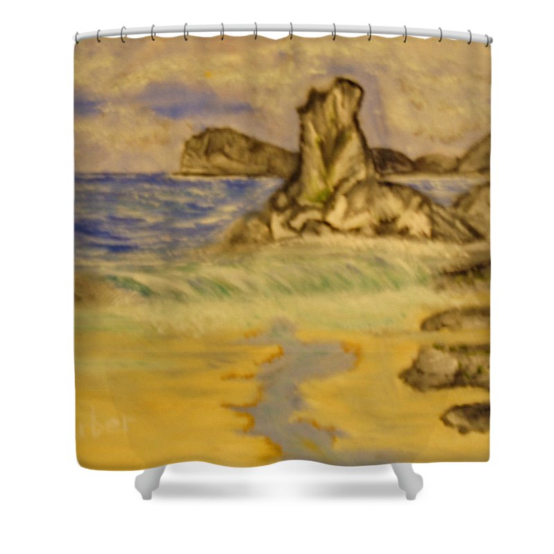 Seascape Shower Curtain featuring the painting Dreaming Of Beaches by Suzanne Surber