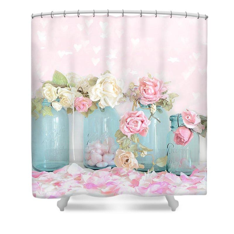 Dreamy Shabby Chic Pink White Roses - Vintage Aqua Teal Ball Jars ...