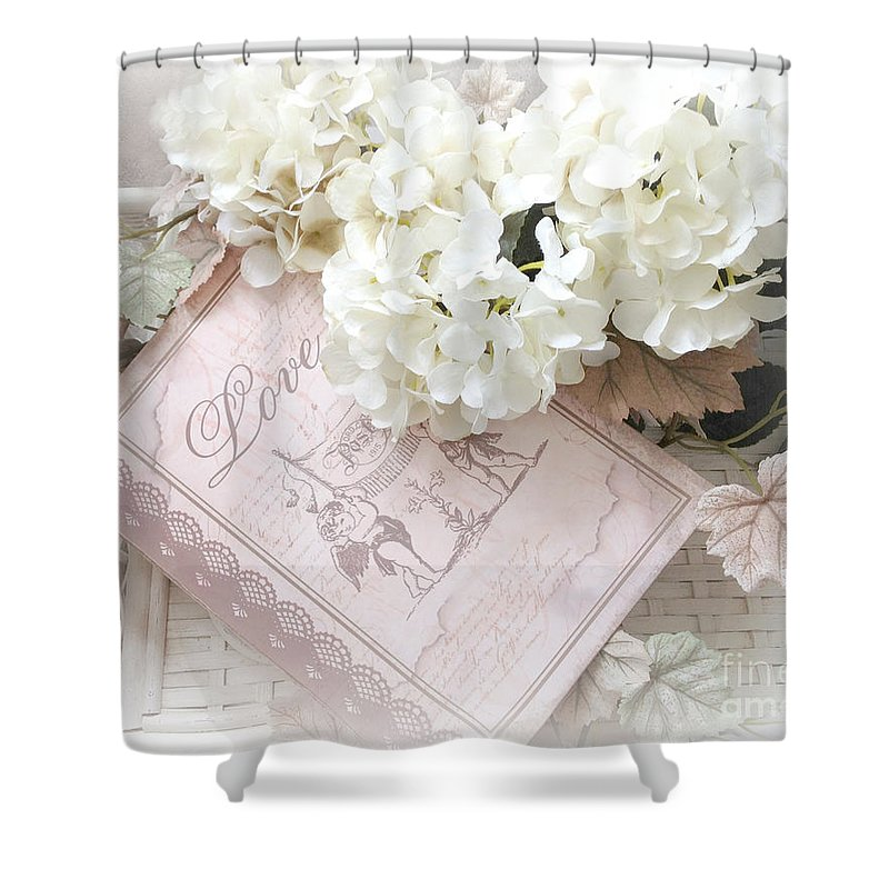 Dreamy Hydrangea Photos Shower Curtain featuring the photograph Dreamy Shabby Chic White Hydrangeas On Pink Love Book - Romantic Hydrangeas Love Book Decor by Kathy Fornal