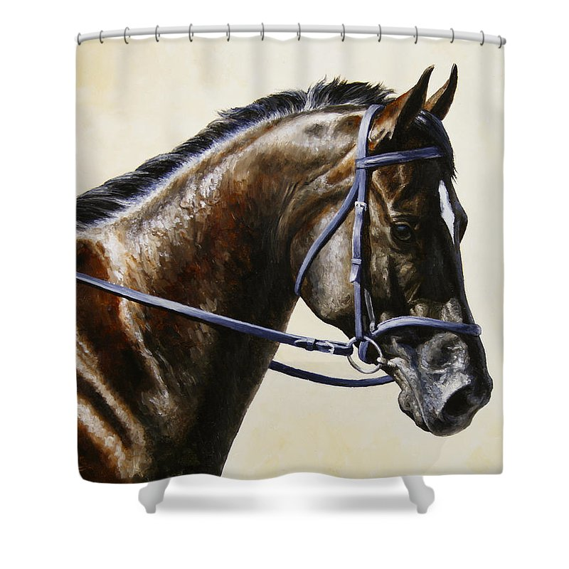Horse Shower Curtain featuring the painting Dressage Horse - Concentration by Crista Forest
