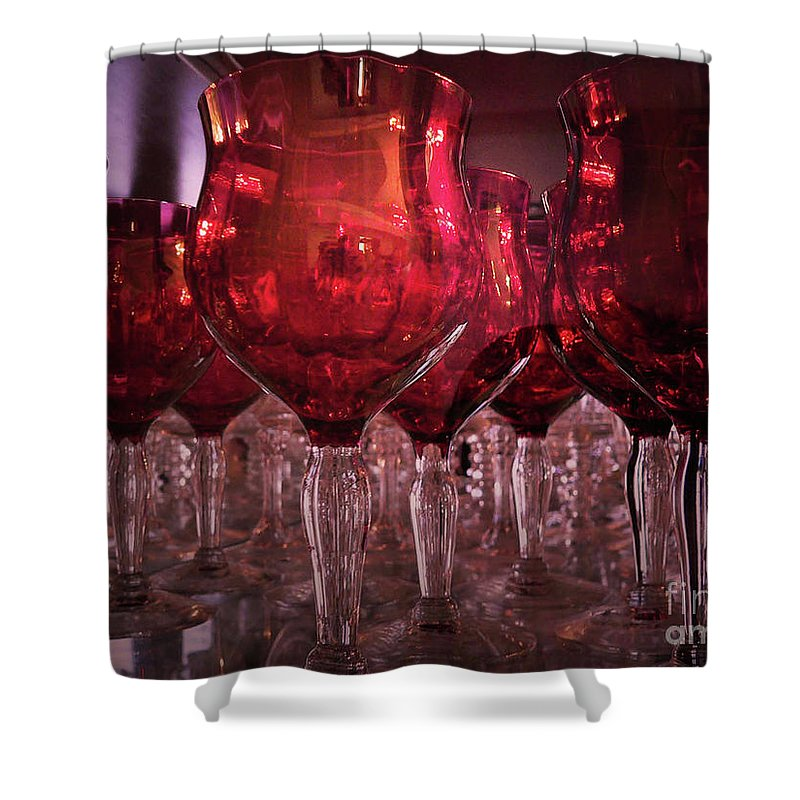 Glass Shower Curtain featuring the photograph Drink Red by Angela Wright