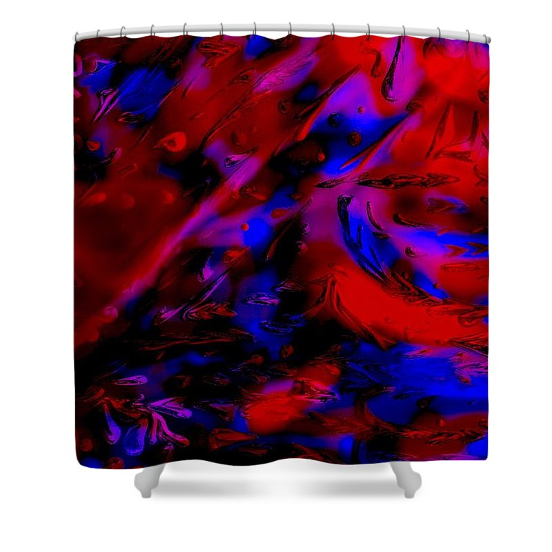 Abstract Shower Curtain featuring the painting Drops by Karen Harding