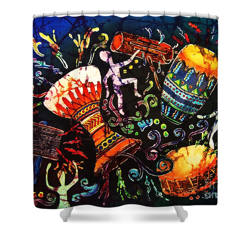 Drums Shower Curtain featuring the painting Drumbeat by Sue Duda