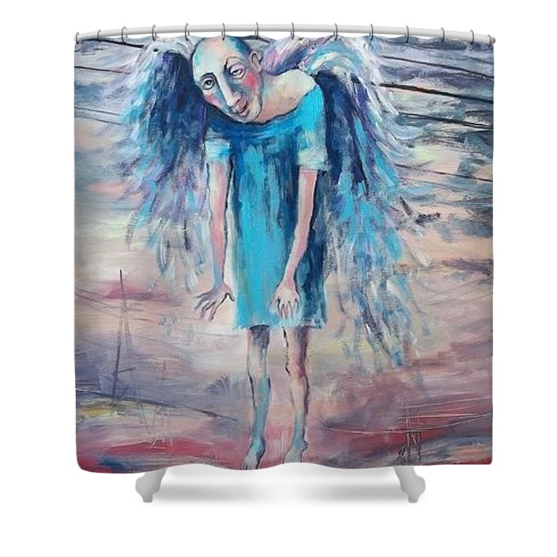 Humor Shower Curtain featuring the painting Drunk Angel by Elisheva Nesis