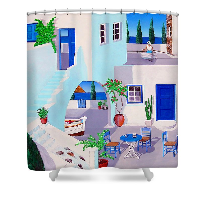 This Is My Esher Inspired Greek Painting I Did For Mykanos Shower Curtain featuring the painting Dual Horizons by Snake Jagger