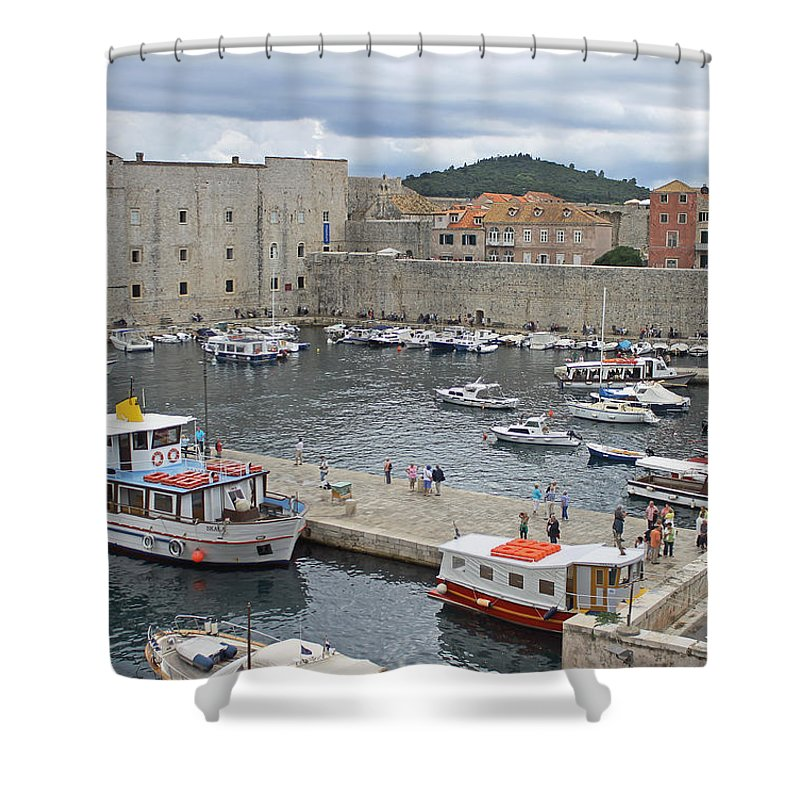 Dubrovnik Old Harbour Shower Curtain featuring the photograph Dubrovnik Old Harbour by Tony Murtagh