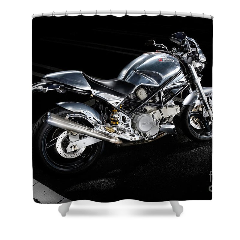 Ducati Shower Curtain featuring the photograph Ducati Monster Cafe Racer by Frank Kletschkus