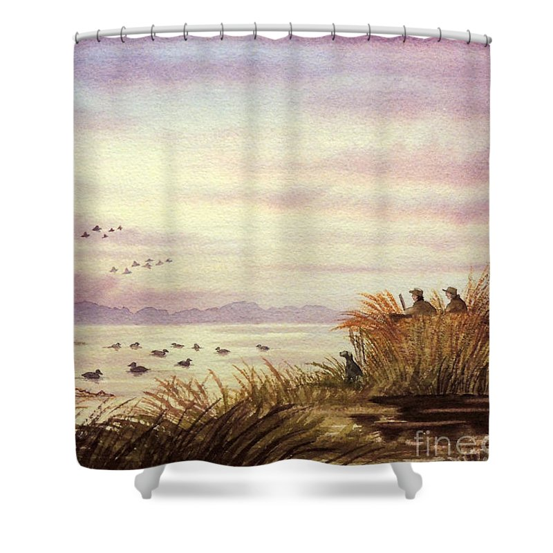 Duck Hunting Shower Curtain Featuring The Painting Companions By Bill Holkham