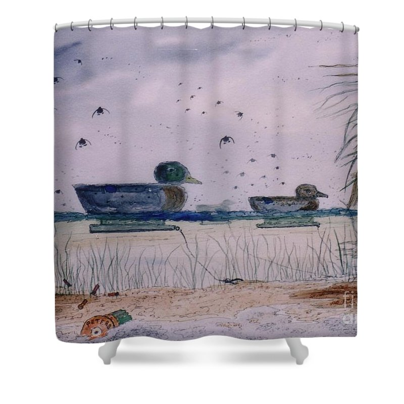 Ducks Shower Curtain featuring the mixed media Just Ducks by Don Hand