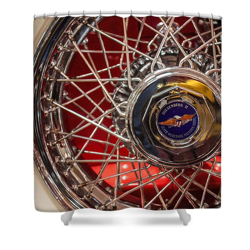 Duesenberg Shower Curtain featuring the photograph Duesenberg Wheel by Lauri Novak