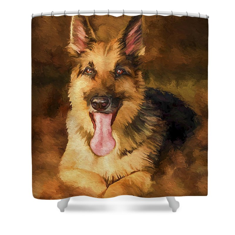 German Shepherd Shower Curtain featuring the painting Duke by David Wagner