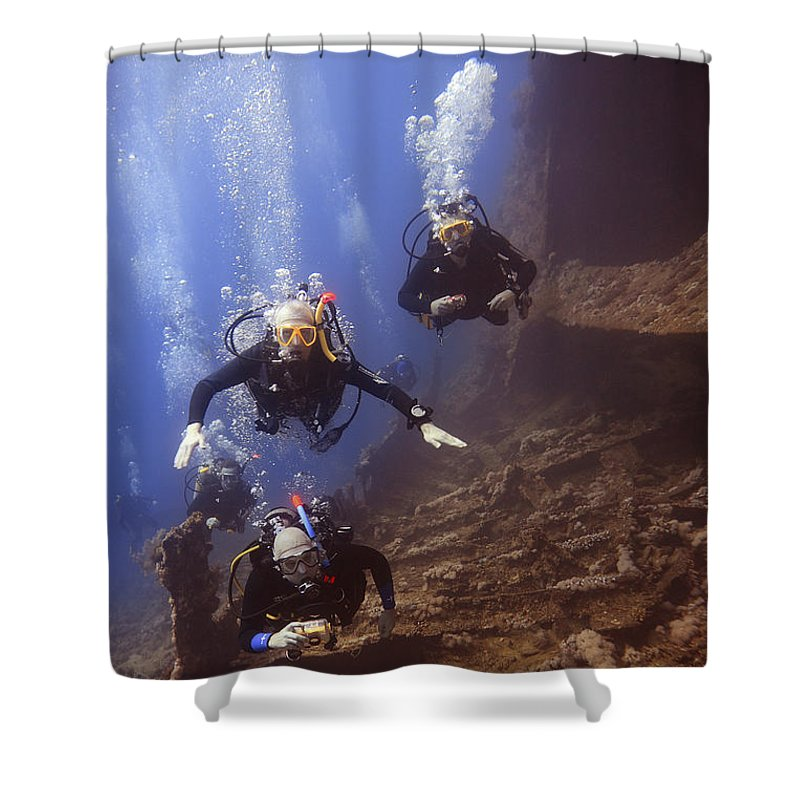 Divers Shower Curtain featuring the photograph Dunraven Divers by Gary Doak