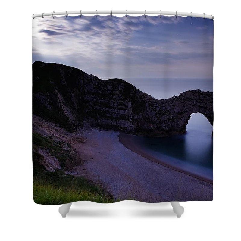 Durdle Shower Curtain featuring the photograph Durdle Door Under A Moonlit Sky by Ian Middleton
