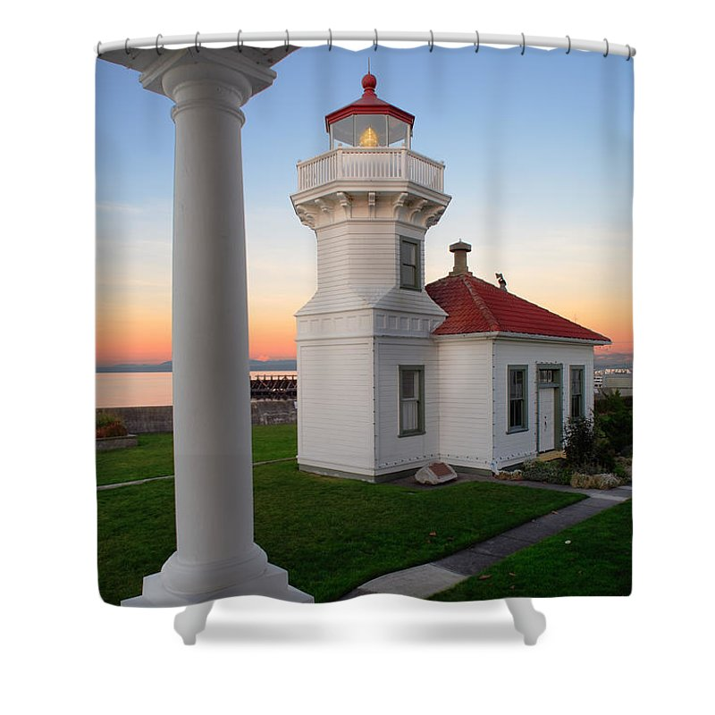 America Shower Curtain featuring the photograph Dusk At Mukilteo Lighhouse by Inge Johnsson