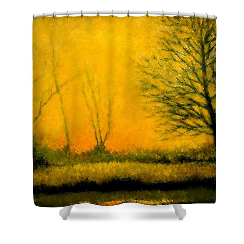 Landscape Shower Curtain featuring the painting Dusk At The Refuge by Jim Gola