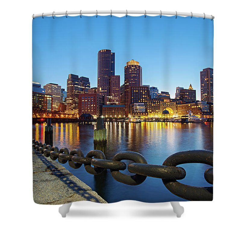 Clear Sky Shower Curtain featuring the photograph Dusk In Boston by Photography By Nick Burwell