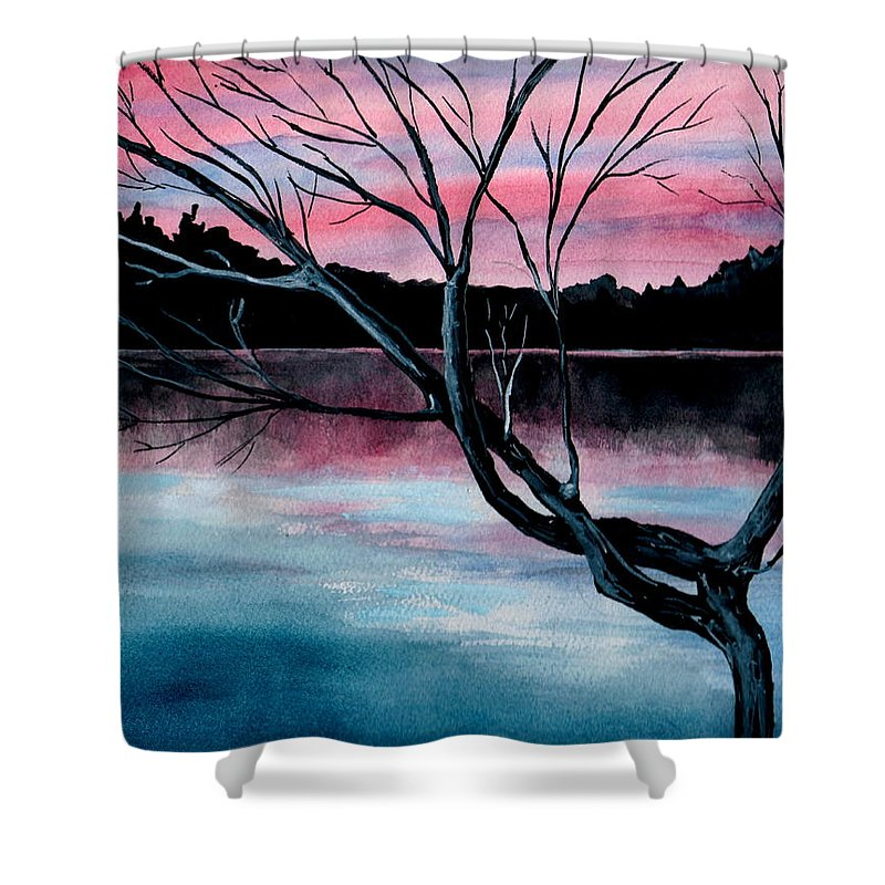 Landscape Shower Curtain featuring the painting Dusk Lake Arrowhead Maine by Brenda Owen