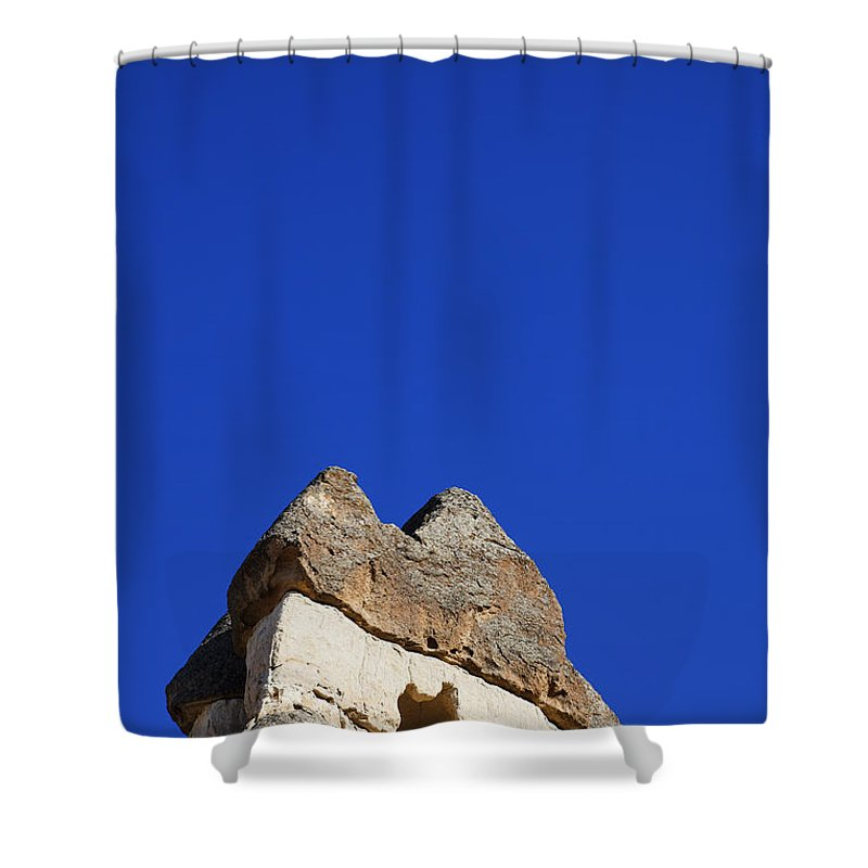 Cappadocia Shower Curtain featuring the photograph Dwelling Carved Out Of The Rock At Zelve In Cappadocia Turkey by Robert Preston