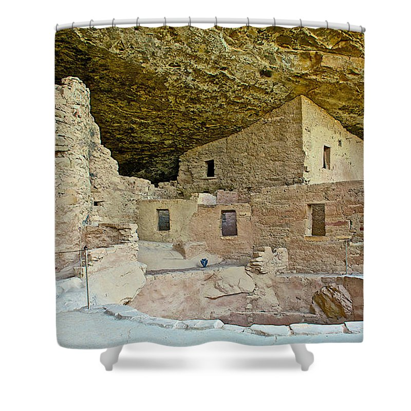 Dwellings In Spruce Tree House On Chapin Mesa In Mesa Verde National Park Shower Curtain featuring the photograph Dwellings In Spruce Tree House On Chapin Mesa In Mesa Verde National Park-colorado by Ruth Hager