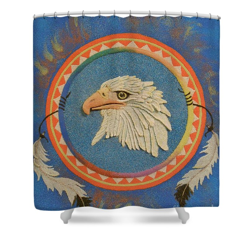 Eagle Shower Curtain featuring the mixed media Spirit Of Sacred Healing - Mi Gi Si' by Duane West